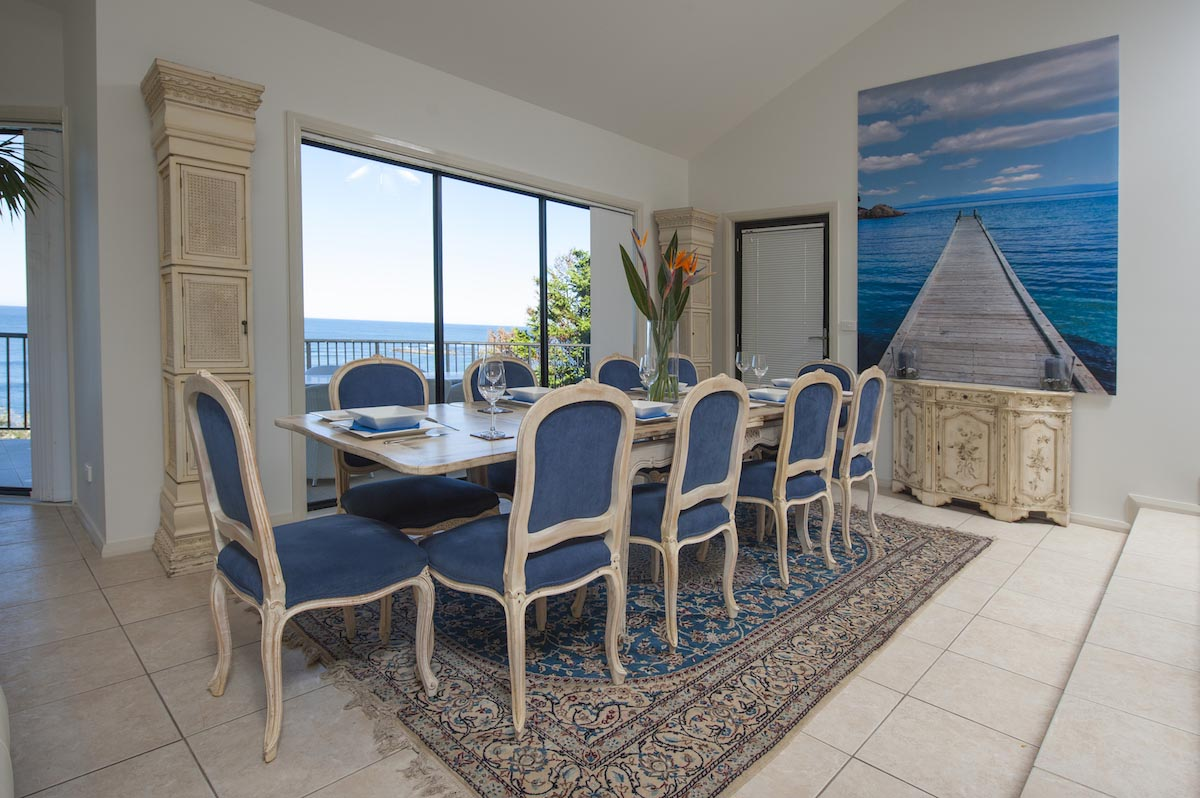Ground floor dining area at Beach Paradise holiday house Forresters Beach NSW Sydney Australia